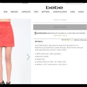 bebe Skirts - Bebe faux suede skirt